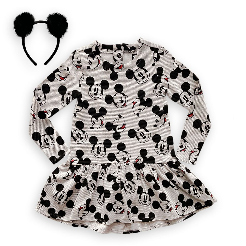 Mickey Mouse Grayscale Dress and Headband Set for Girls