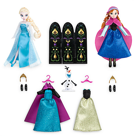 Anna and Elsa Mini Doll Wardrobe Play Set - Frozen - 5 1/2''