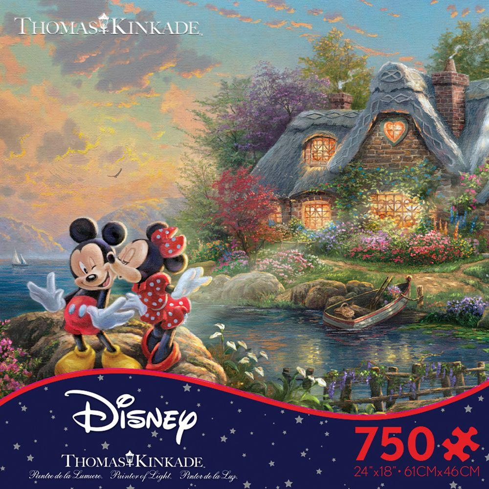 Mickey and Minnie Mouse at Cottage Puzzle by Thomas Kinkade