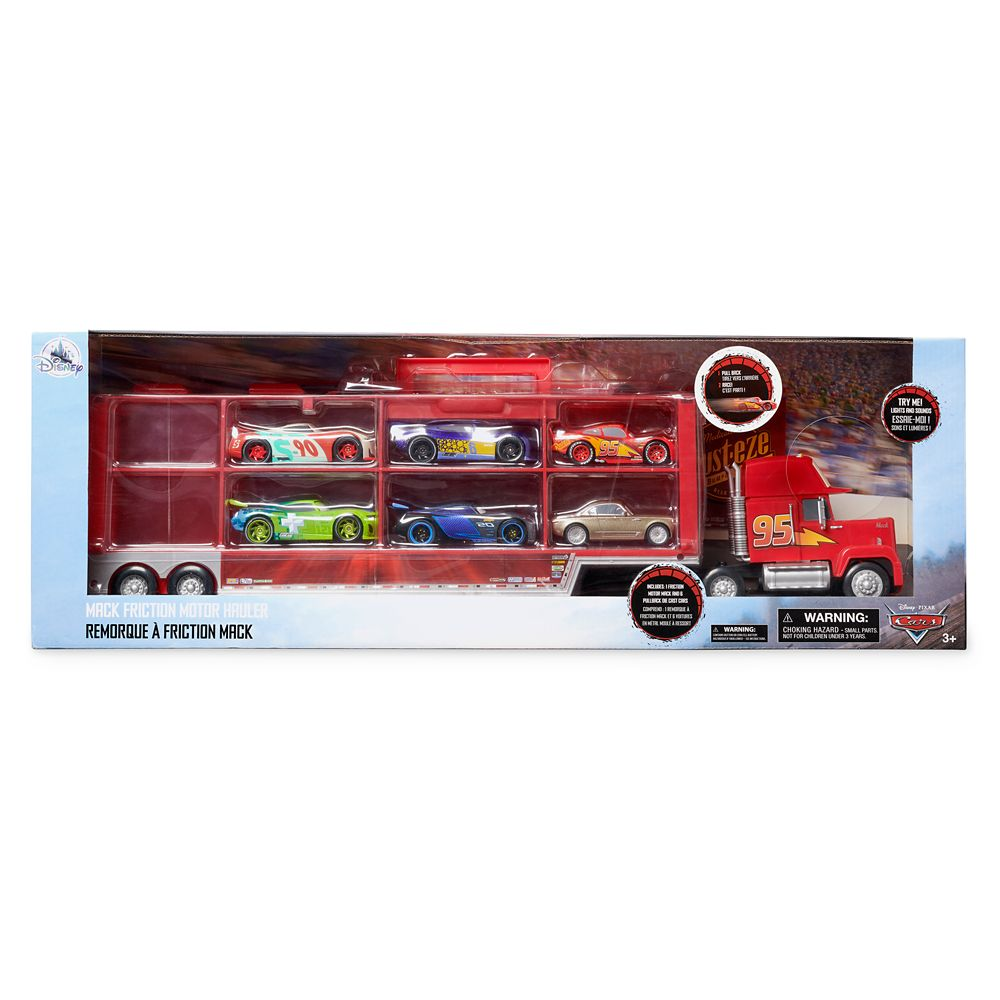 Mack Friction Motor Hauler and Six Die Cast Cars Set