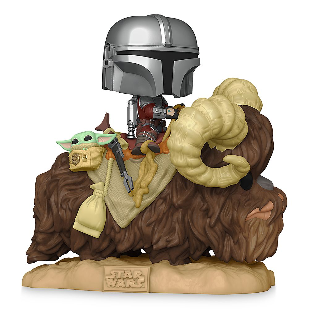 Mando on Bantha with the Child in Bag Funko Pop! Vinyl Bobble-Head – Star Wars: The Mandalorian – Pre-Order