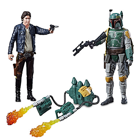 Han Solo & Boba Fett Force Link Action Figure Set by Hasbro - Star Wars - 3 3/4''