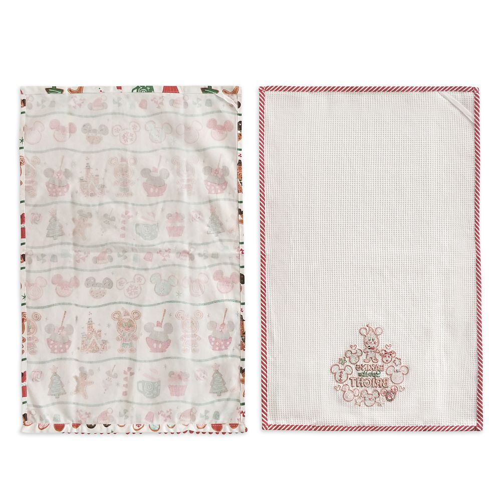 Mickey and Minnie Mouse Gingerbread Holiday Dish Towel Set