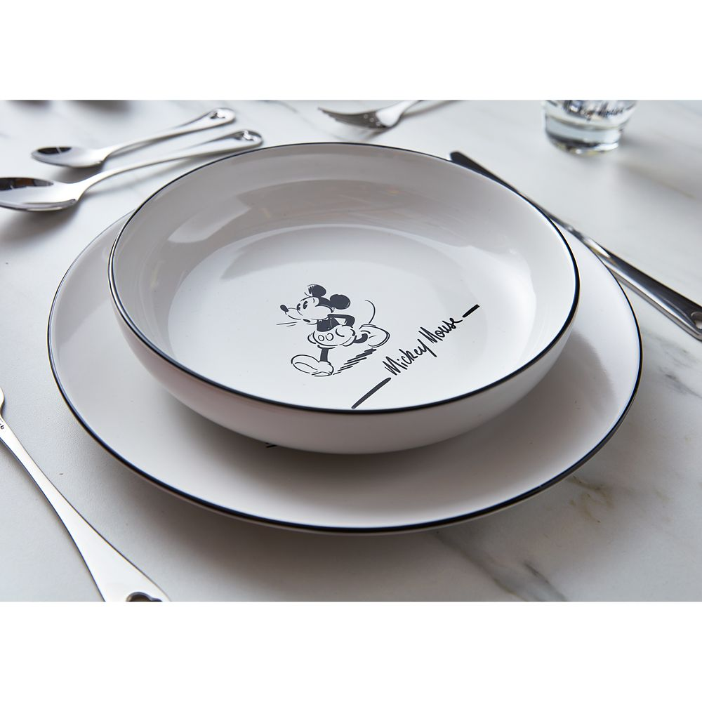 Mickey Mouse Black and White Pasta Plate