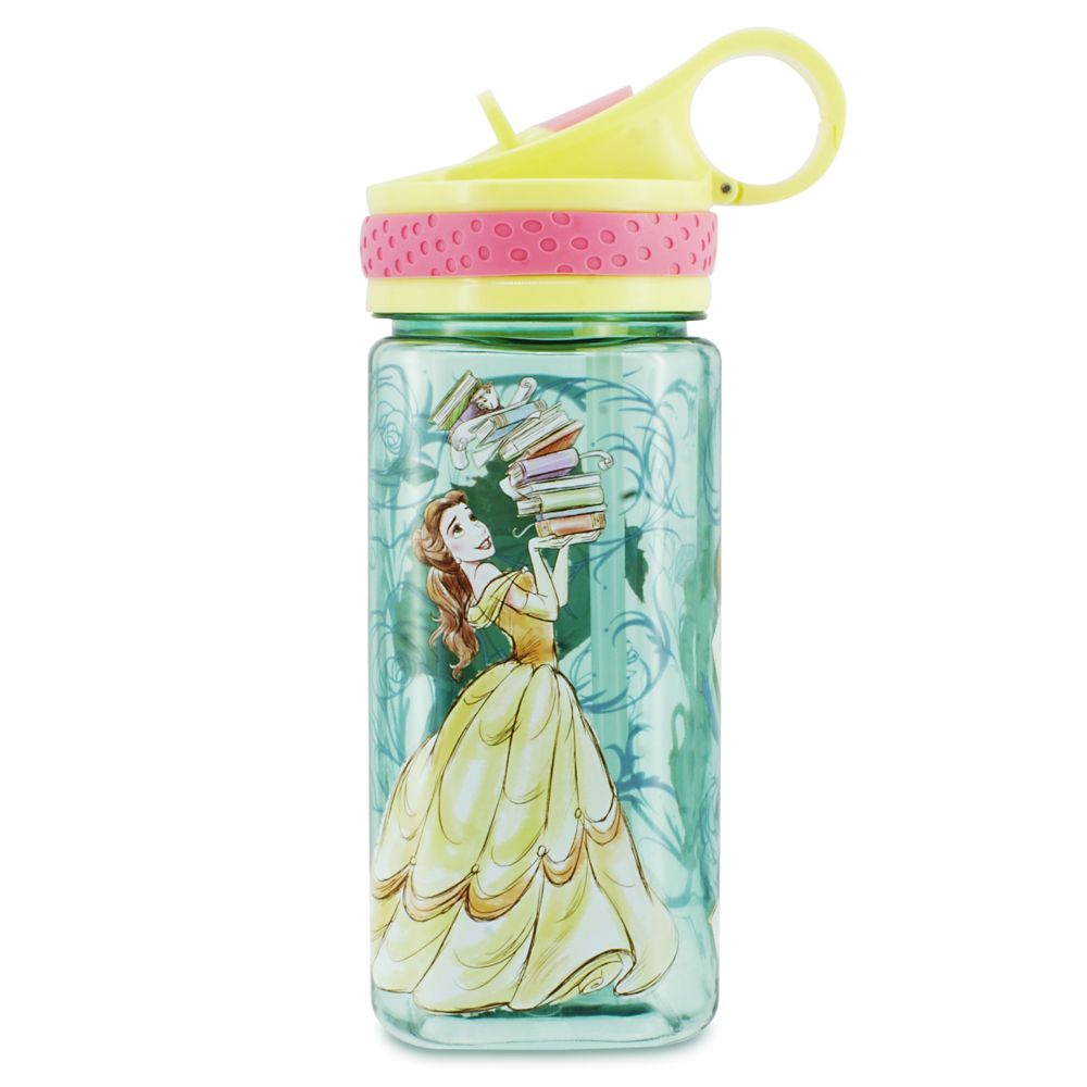Beauty and the Beast Water Bottle with Built-In Straw