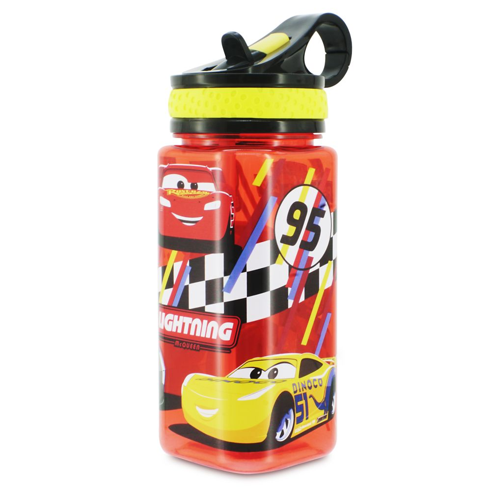 Cars Water Bottle with Built-In Straw