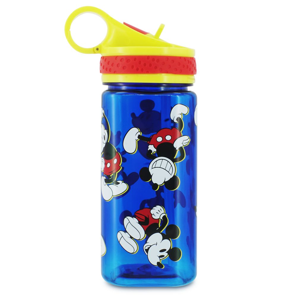 Mickey Mouse Water Bottle with Built-In Straw