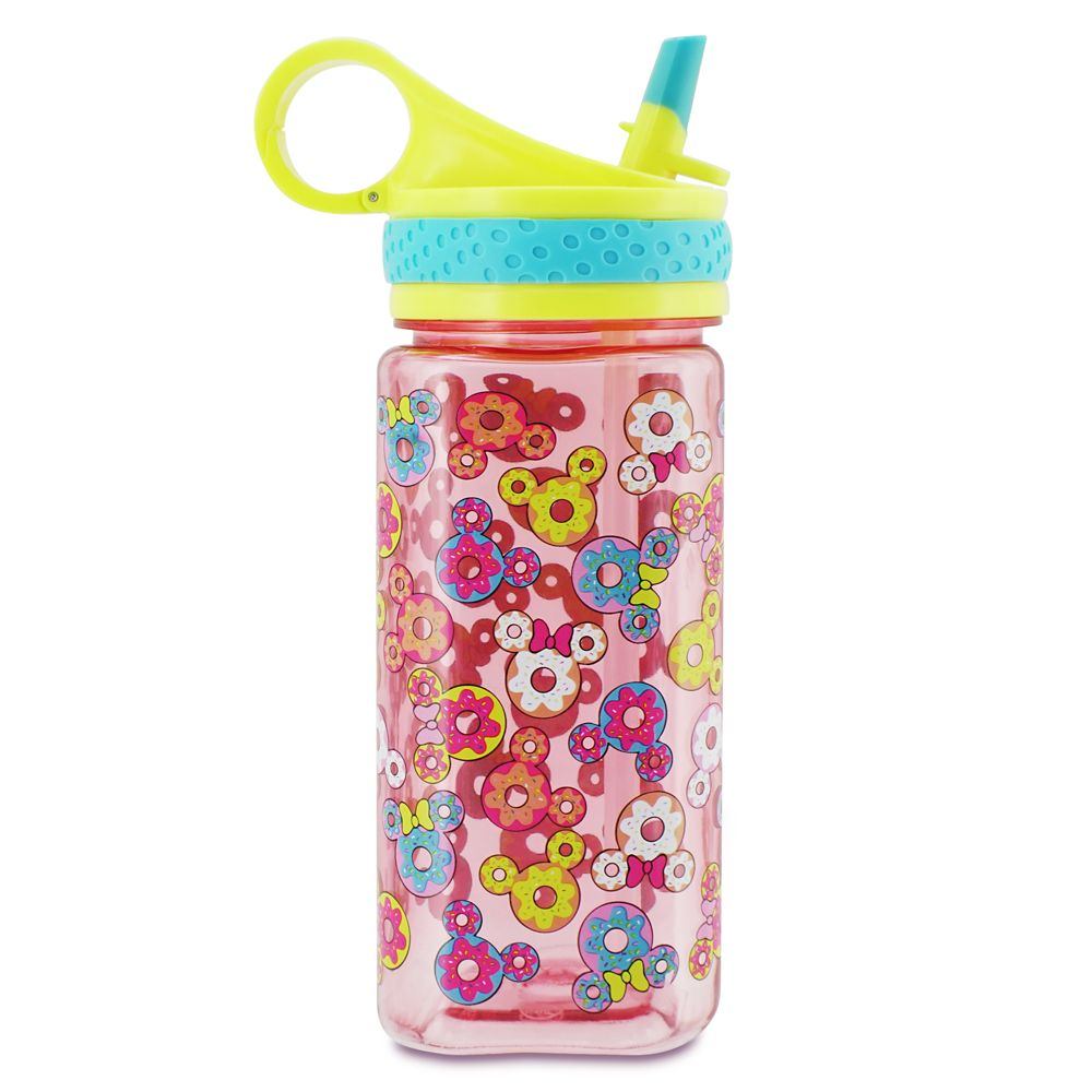 Mickey and Minnie Mouse Donut Water Bottle with Built-In Straw