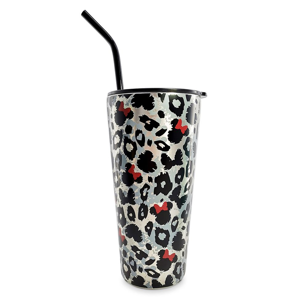 Minnie Mouse Animal Print Travel Tumbler with Straw