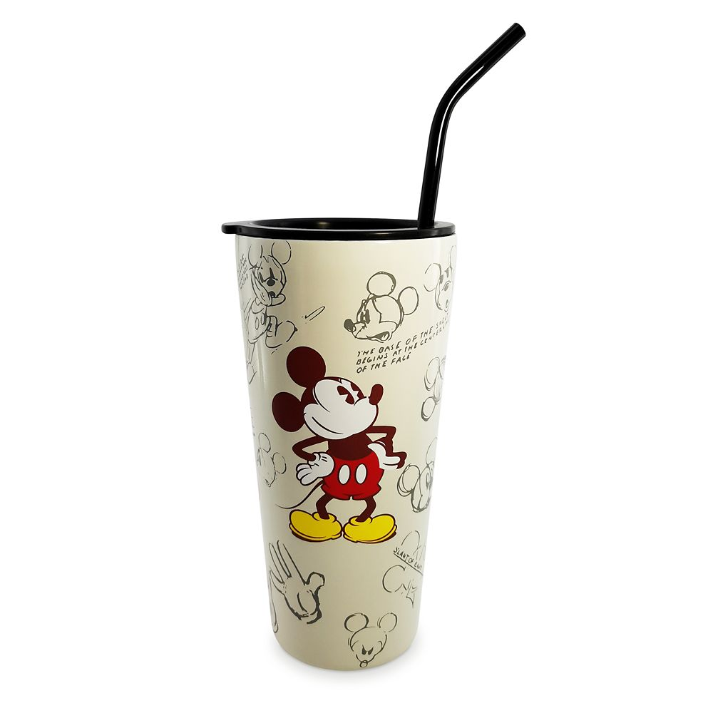 Mickey Mouse Sketch Art Travel Tumbler with Straw