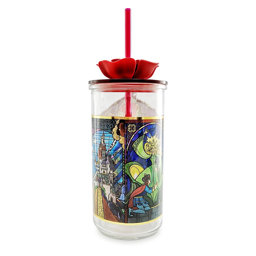 Beauty and the Beast Glass Tumbler with Straw