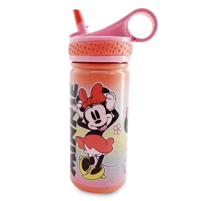 Minnie Mouse Stainless Steel Water Bottle with Built-In Straw