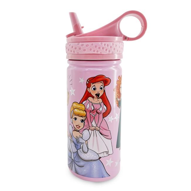 Disney Princess Steel Water Bottle with Built-In Straw