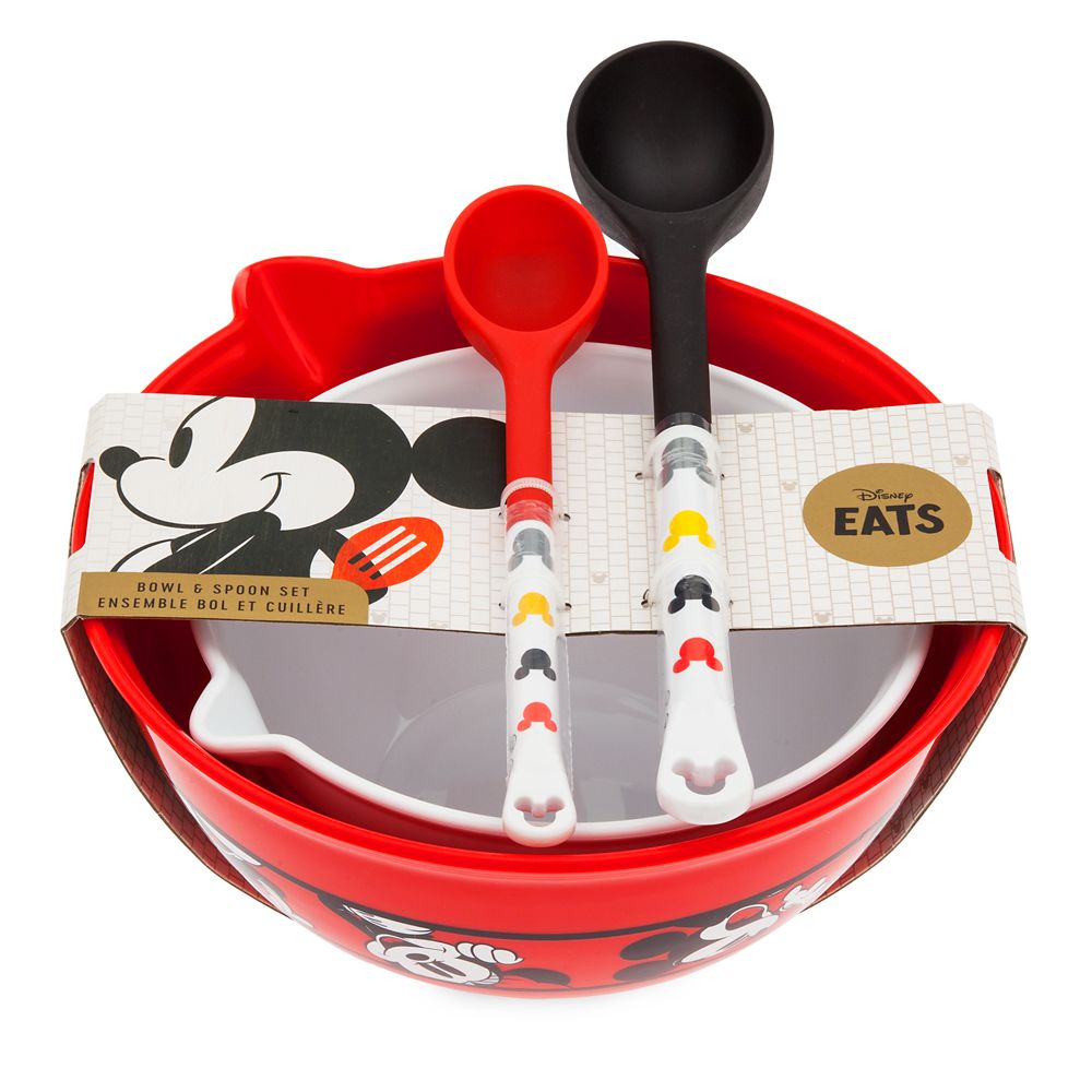 Mickey and Minnie Mouse Mixing Bowl and Spoon Set – Disney Eats
