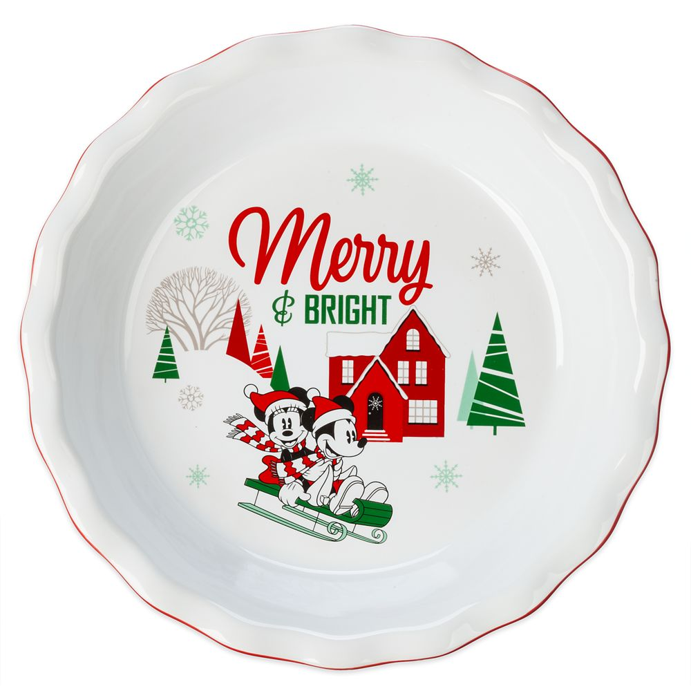 Disney Mickey and Minnie Mouse Holiday Pie Dish