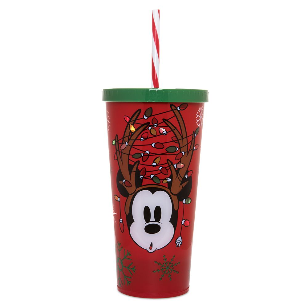 Mickey Mouse Light-Up Holiday Tumbler with Straw