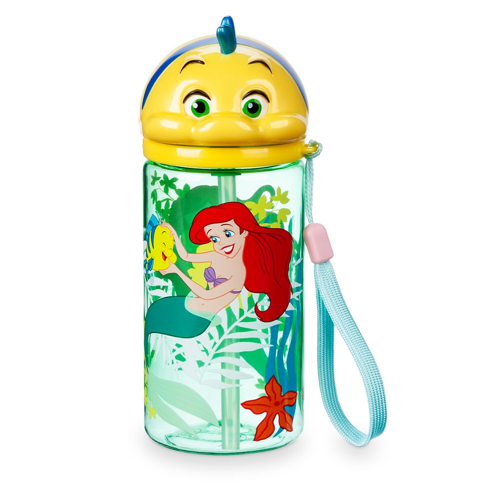 Flounder Flip Top Drink Bottle with Straw – The Little Mermaid