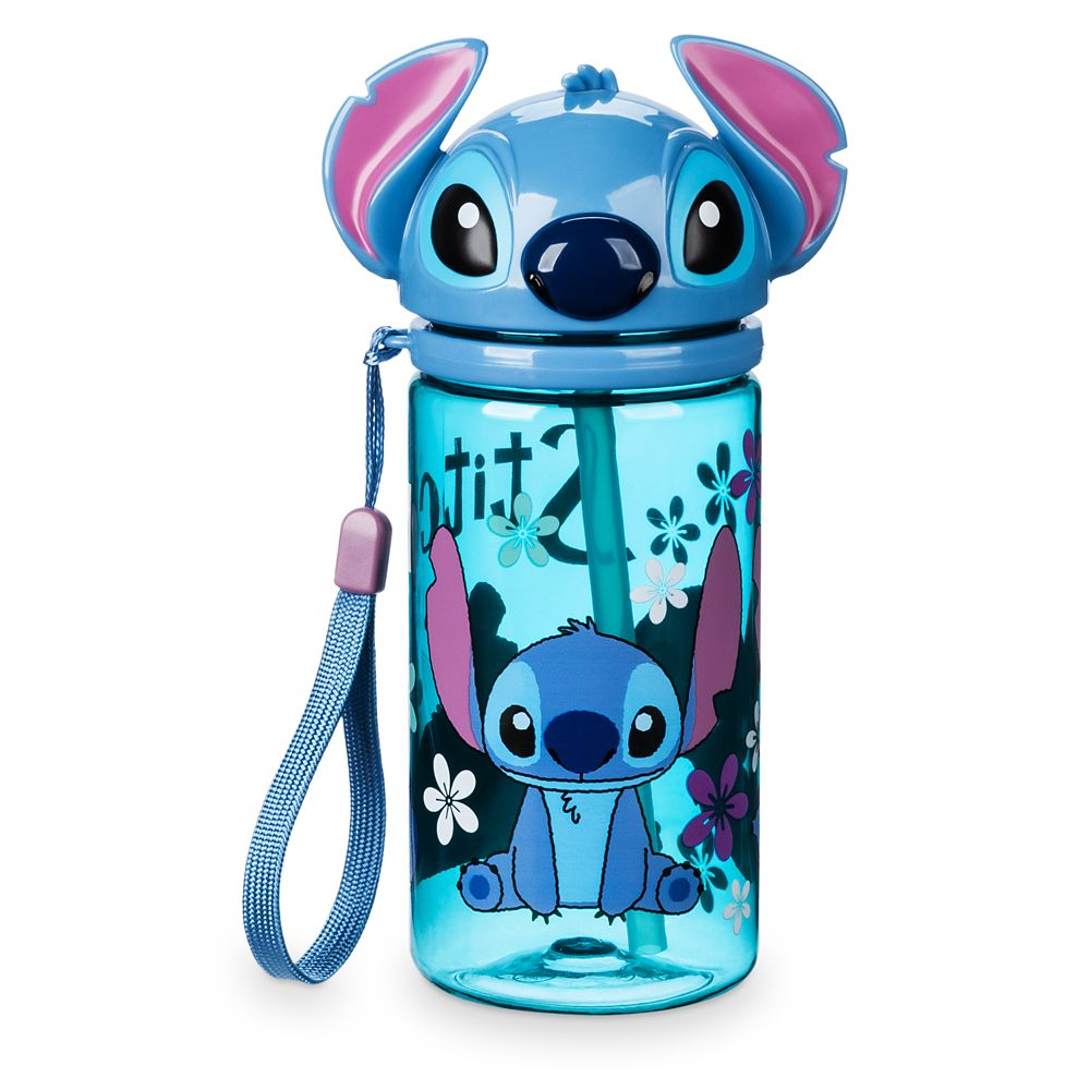 Stitch Flip Top Drink Bottle with Straw