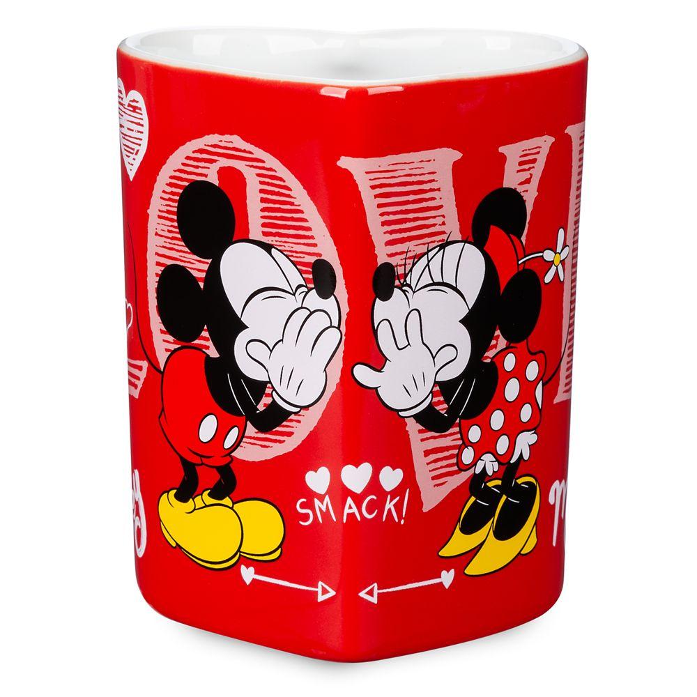 Mickey and Minnie Mouse Heart-Shaped Mug