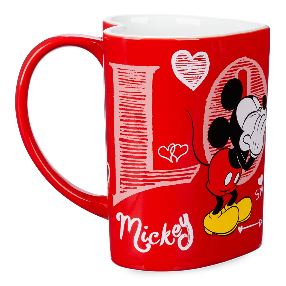 Mickey and Minnie Mouse Heart-Shaped Mug