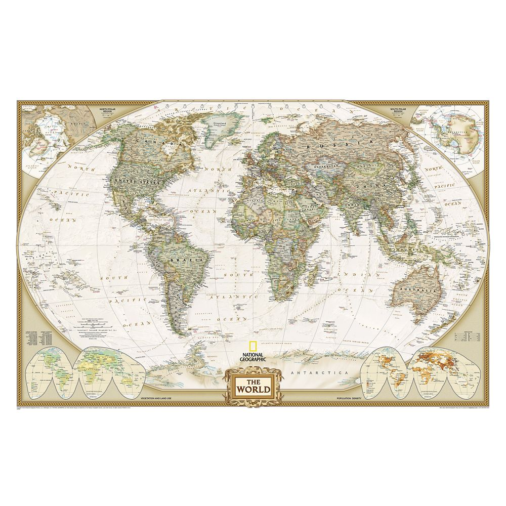 World Executive Laminated Map – National Geographic