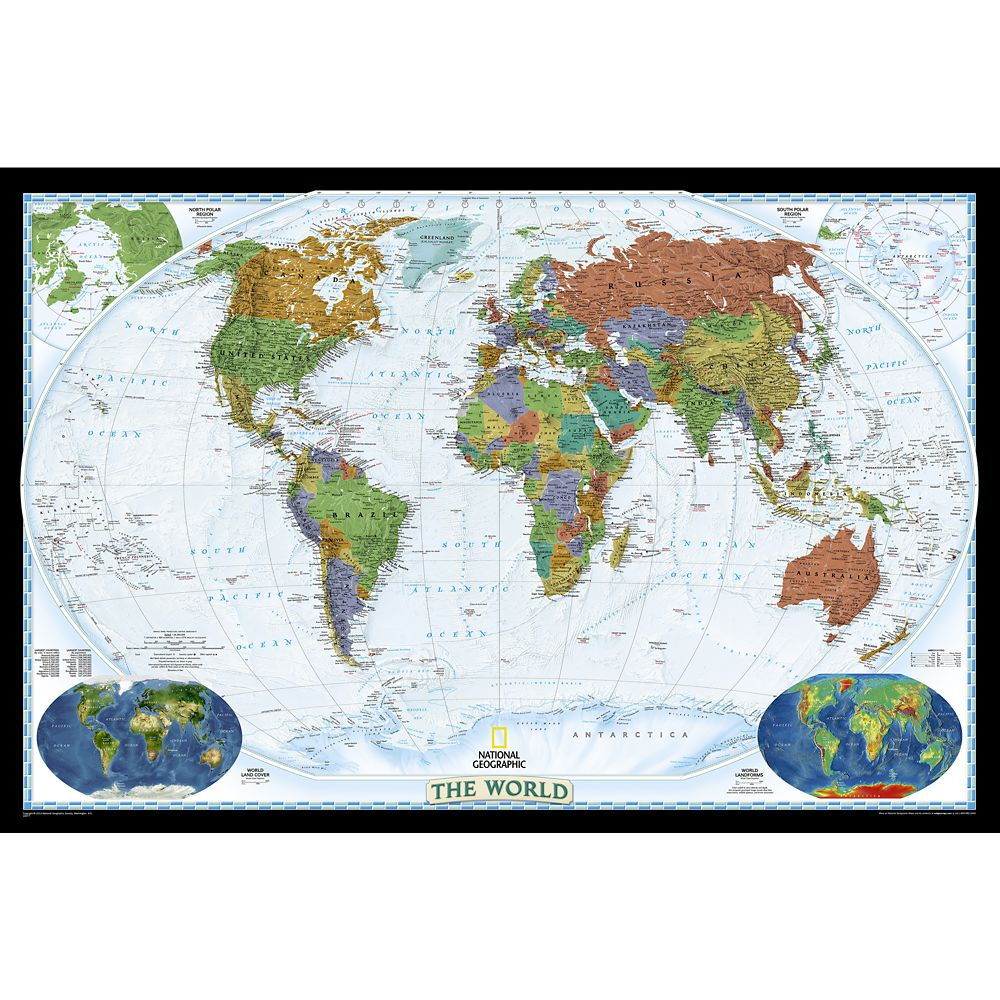 World Decorator Laminated Map – National Geographic