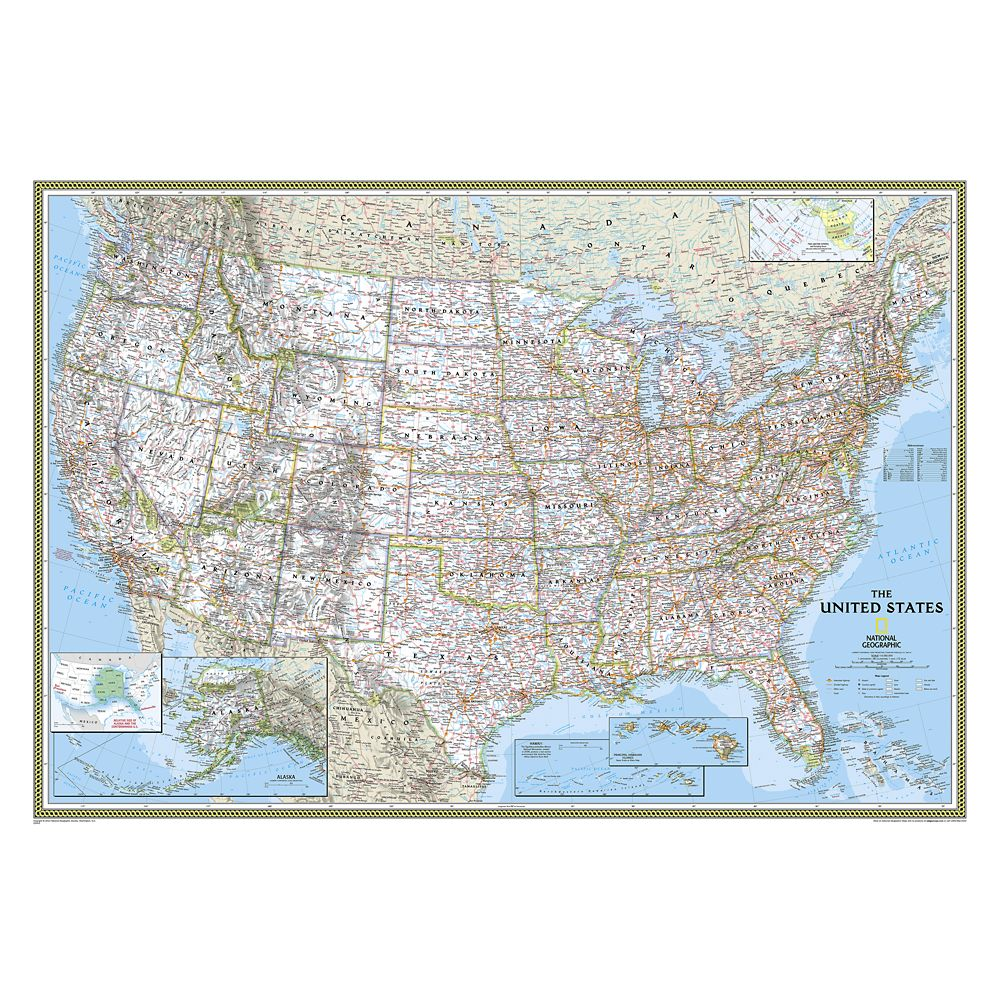 United States Classic Laminated Map – National Geographic