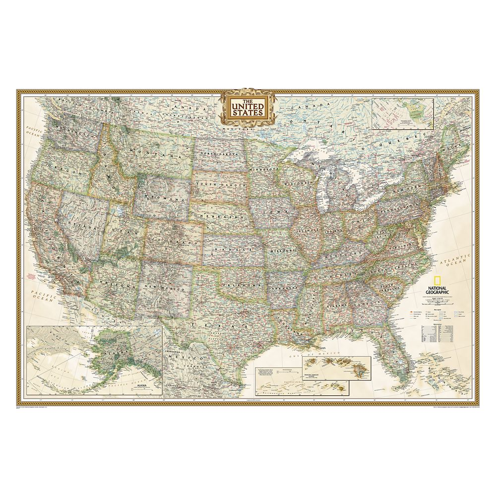 United States Executive Laminated Map – National Geographic