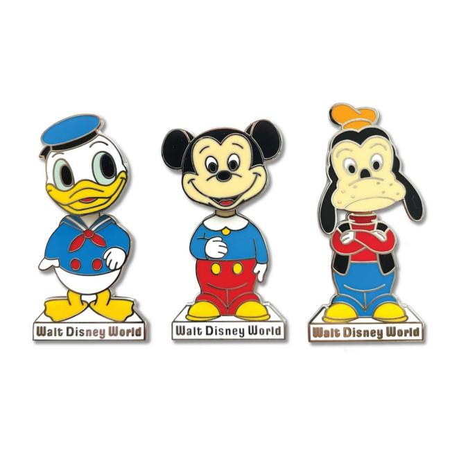Mickey Mouse and Friends ''Bobble Head'' Pin Set – Walt Disney World 50th Anniversary