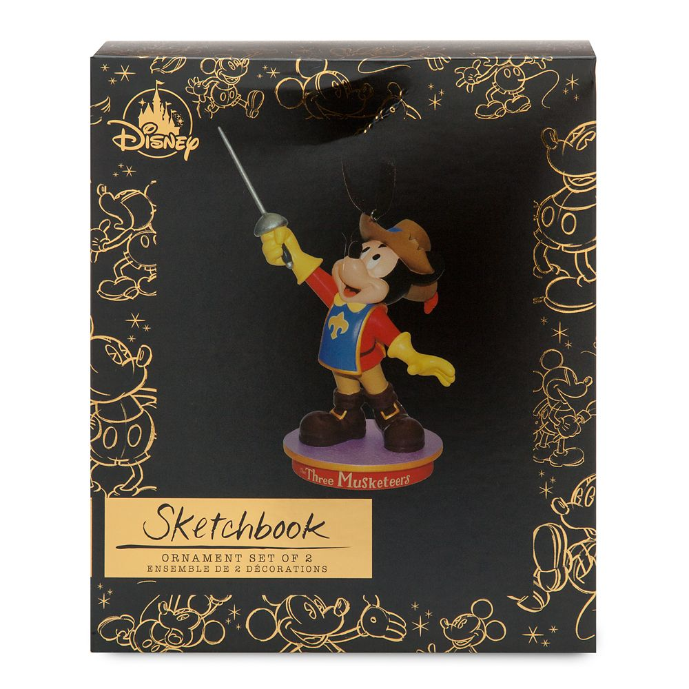 Mickey Mouse Through the Years Sketchbook Ornament Set – The Three Musketeers – November – Limited Release
