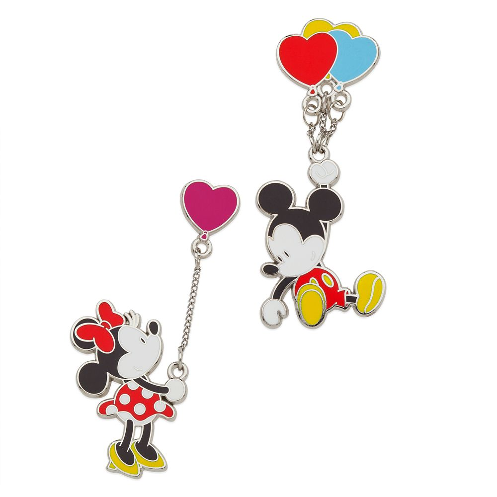Mickey and Minnie Mouse Dangler Pin Set