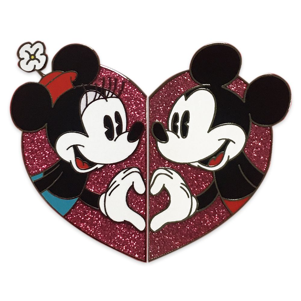 Mickey and Minnie Mouse Valentine's Day Pin Set