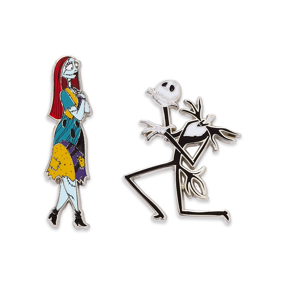 Disney Nightmare Before Christmas Jack Skellington Face Pin With Sally Pin NEW