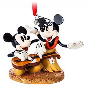 Mickey and Minnie Mouse Sketchbook Ornament - Hawaiian Holiday