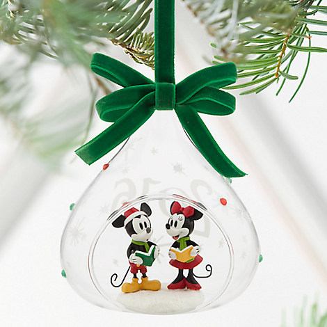 Mickey and Minnie Mouse Glass Sketchbook Ornament - Holiday 2016