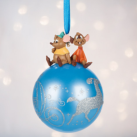 Jaq and Gus on Glass Ball Sketchbook Ornament - Cinderella - Personalizable