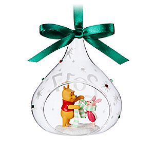 Winnie the Pooh and Piglet Glass Drop Sketchbook Ornament - 2017