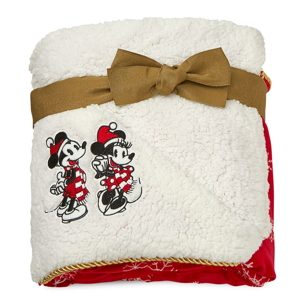 Mickey and Minnie Mouse Holiday Throw Blanket