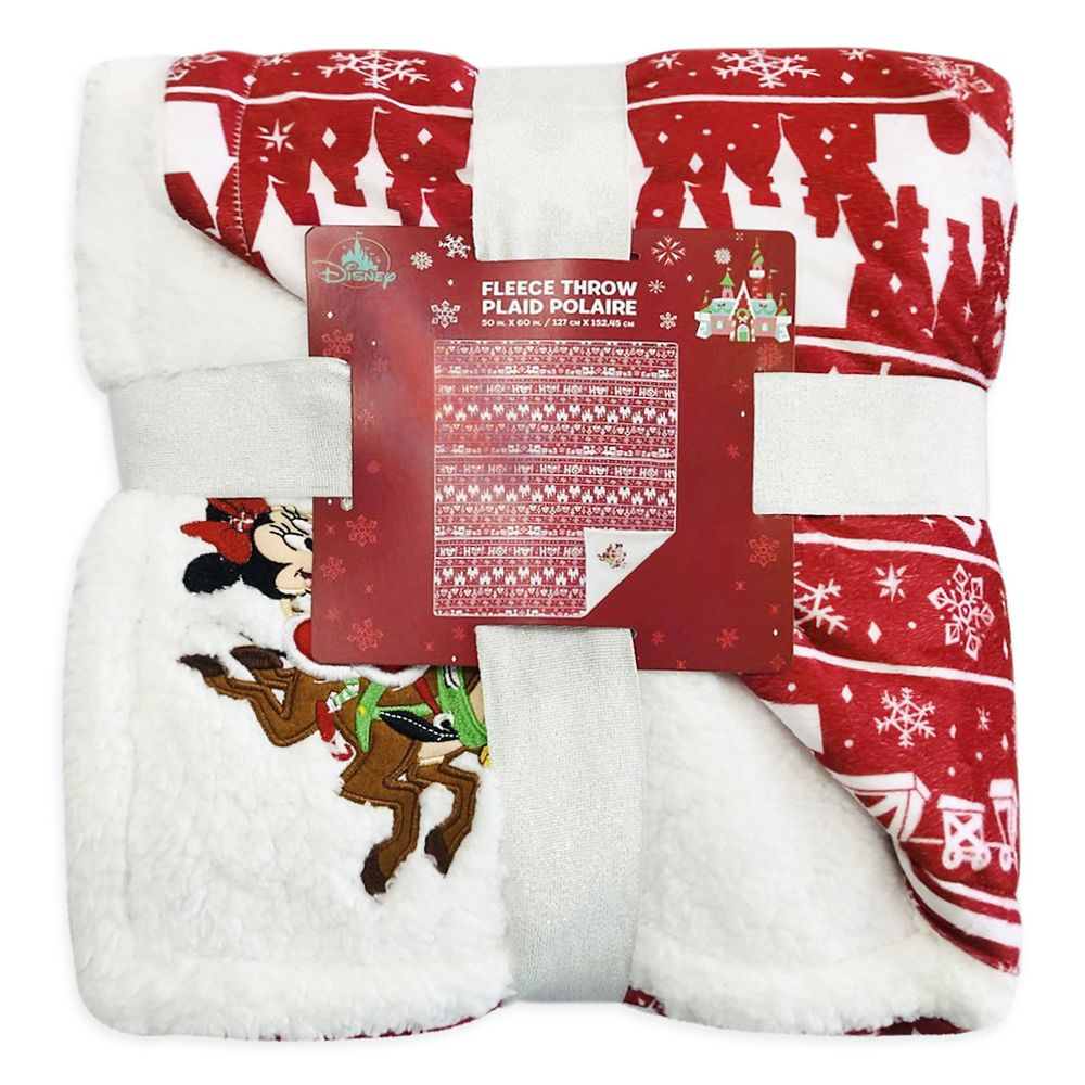 Mickey and Minnie Mouse Holiday Fleece Throw