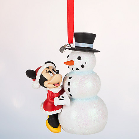 Minnie Mouse with Snowman Sketchbook Ornament - Personalizable