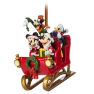 Santa Mickey Mouse and Friends in Sleigh Figural Ornament