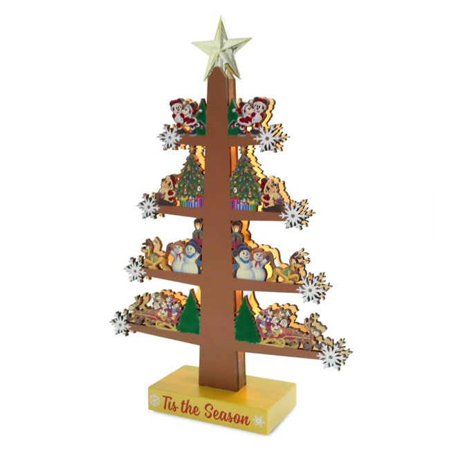 Santa Mickey Mouse and Friends Wooden Light-Up Holiday Tree