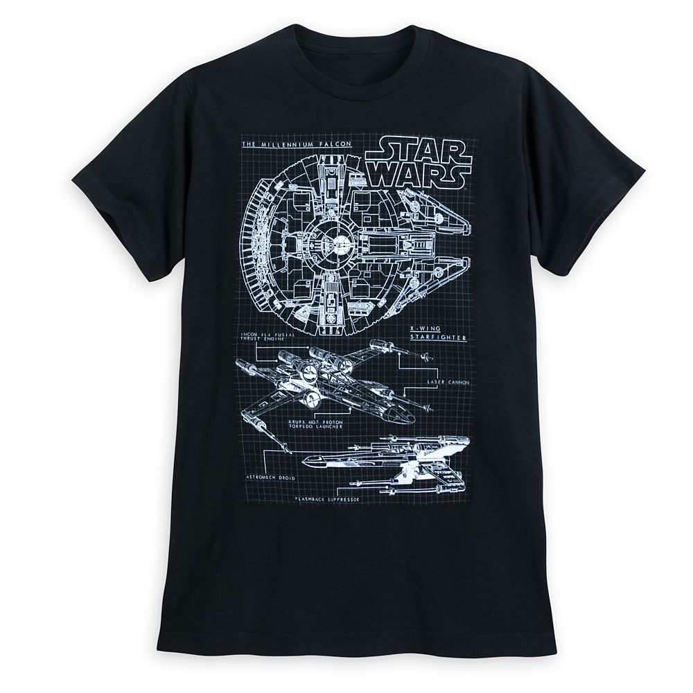 Millennium Falcon and X-wing Fighter T-Shirt for Men – Star Wars