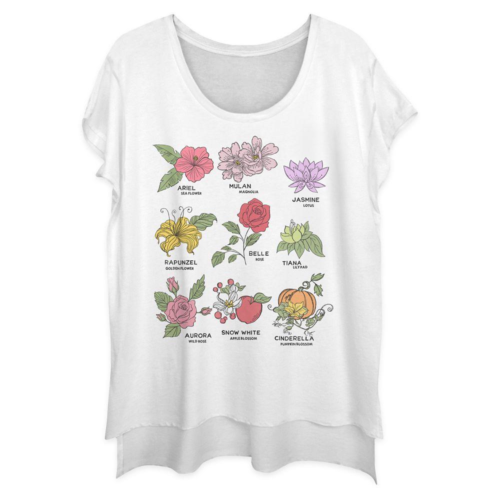 Disney Princess Floral Fashion T-Shirt for Women