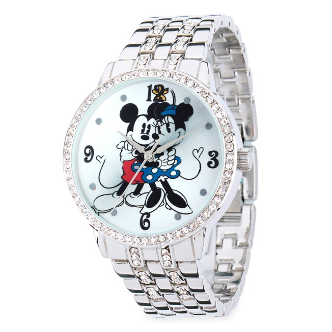 Mickey and Minnie Mouse Silver Alloy Watch for Women