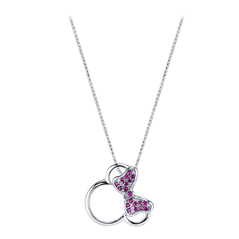 Minnie Mouse Icon Diamond and Ruby Necklace