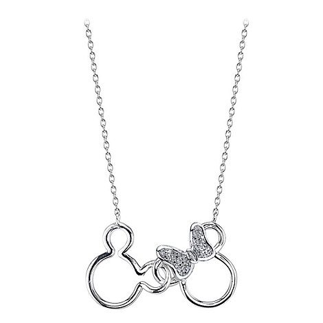 Mickey and Minnie Mouse Icon Diamond Necklace