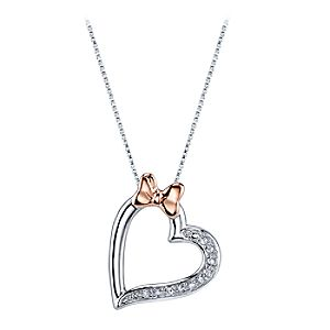 Minnie Mouse Diamond Heart Necklace