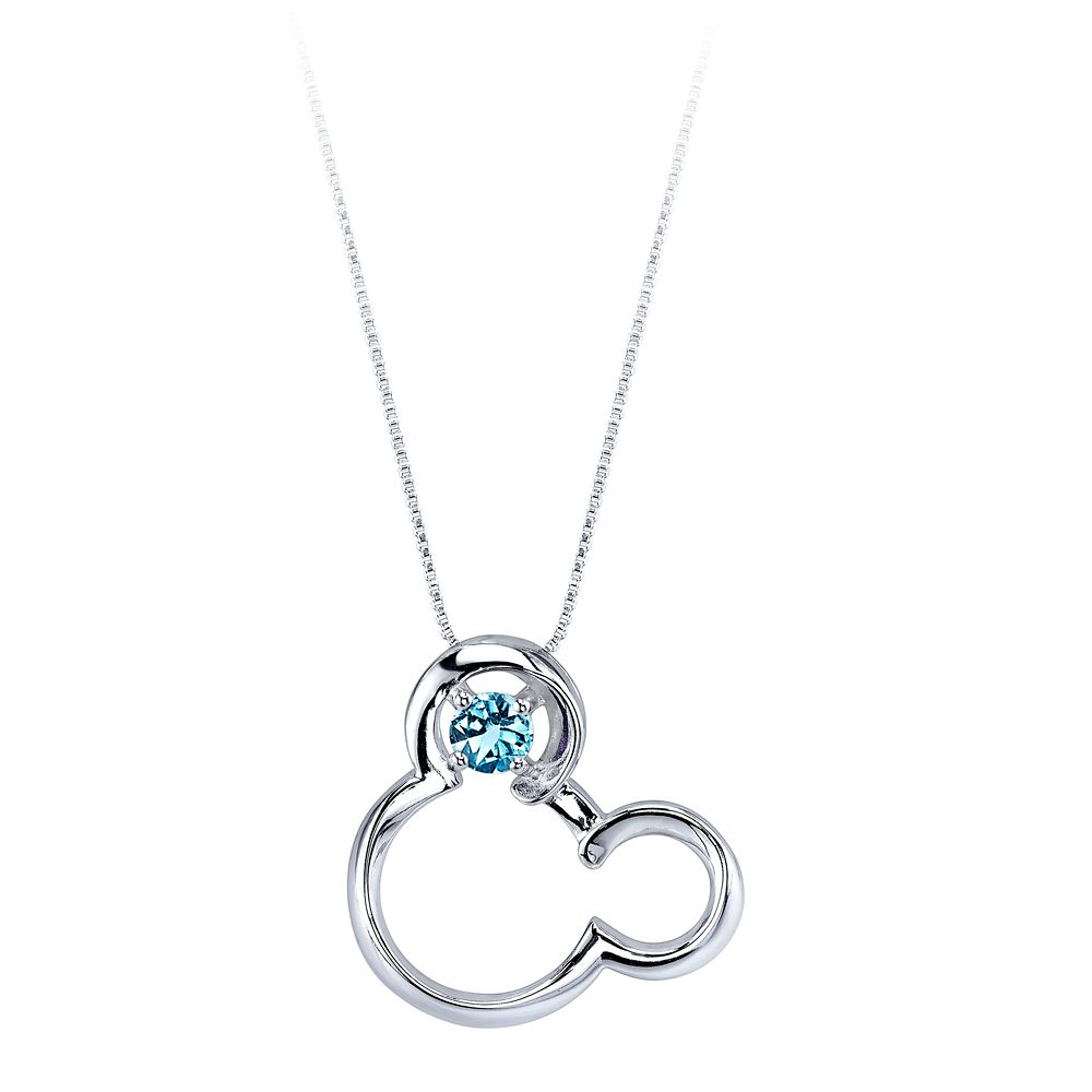 Mickey Mouse March Birthstone Necklace for Women – Aquamarine
