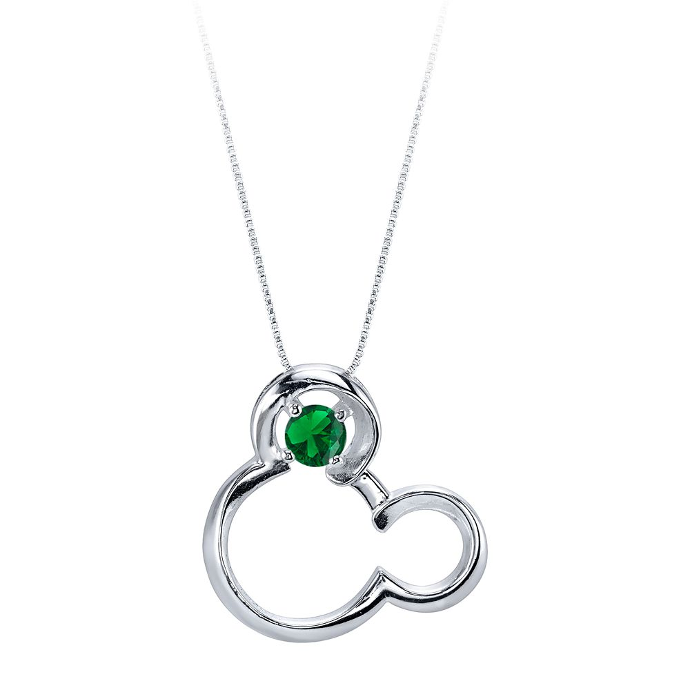 Mickey Mouse May Birthstone Necklace for Women – Emerald